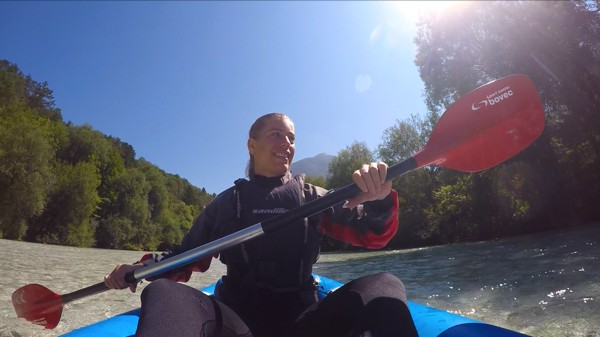 Kayaking on the Soca in Bovec, Slovenia 007
