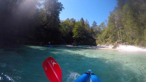 Kayaking on the Soca in Bovec, Slovenia 003