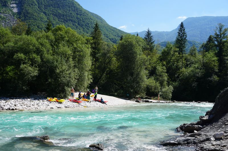 Kayaking on the Soca in Bovec, Slovenia 001